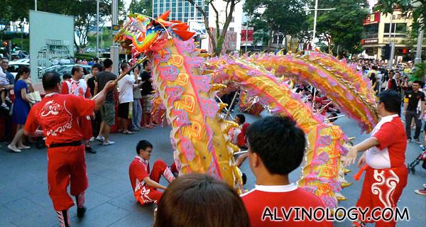 Dragon dance along Orchard Road