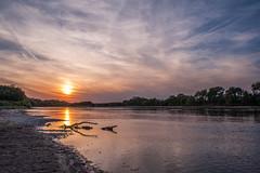 Kansas River at Sunset (thefisch1) Tags: kansas river sunset cloud water cirrus wide lazy shore sane coloful flint hills