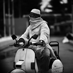 Ignore me and you're doomed ! (N A Y E E M) Tags: scooter moped motorbike vespa bajaj moulana candid portrait fashion afternoon ramadan street gmroad chittagong bangladesh windshield square cropped