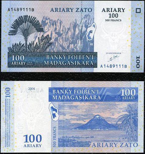 100 Ariary = 500 Frankov Madagaskar 2004, P86