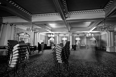 Ghost Dancers (Jibby!) Tags: urban blackandwhite bw motion blur monochrome architecture table carpet spokane downtown dancers pacific northwest chairs room ghost ceiling chandelier dining column ornate washingtonstate beams stacked spokaneclub