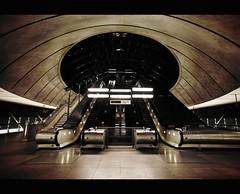 Canary Wharf Station (Scarlet Thread) Tags: urban london station architecture canon underground escalator tube highcontrast desaturated canarywharf 1740 londonist 5dmarkii