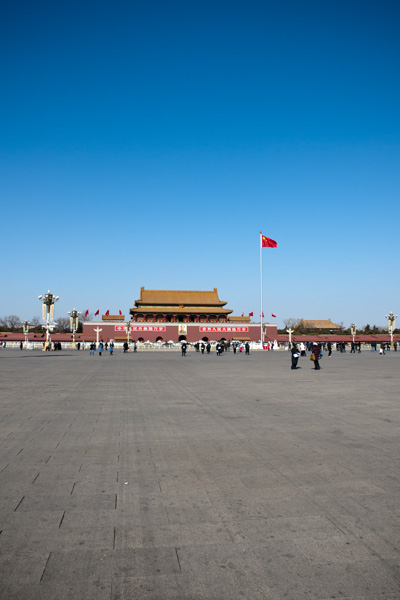 Your typical tourist shot of the Forbidden City entrance from Tiananmen Square.  Luckily the area was not very crowed as Beijing citizens and Chinese tourists were few due to the Spring Festival.