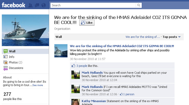 We are for the sinking of the HMAS Adelaide Facebook group page