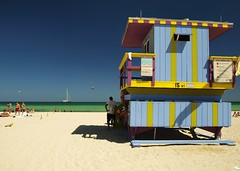 Baywatch (al-absi) Tags: blue sea sky beach boat cabin florida miami stripes south lifeguard olympus shack baywatch    1442mm   e620