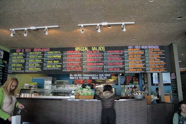 The menu at Green Peas Restaurant