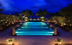 Conrad Bali (A Sutanto) Tags: lighting blue light vacation sky bali holiday pool night swimming indonesia relax hotel evening twilight cloudy dusk good traditional main large stormy resort rest luxury architructure