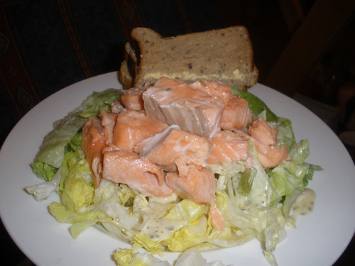 Nuked salmon with iceberg lettuce & bread