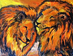 Brotherly Love 8x10 Acrylic (pam_utton) Tags: dog elephant miniature artist paintings lion parrot popart bold pamutton