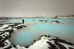 Iceland - the Blue Lagoon (sadaiche (Peter Franc)) Tags: blue snow cold ice water swim iceland aqua cloudy bathe geothermal freakish bluelagoon unnatural