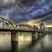 Sunset Over Portland Skyline and Hawthorne Bridge – HDR