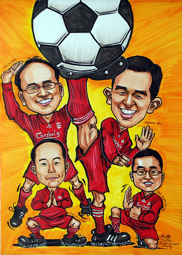 Shaolin Soccer caricatures poster in liverpool jersey