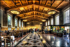 Los Angeles Union Station (szeke) Tags: california city people urban usa station us losangeles unitedstates union trainstation downtownla unionstation hdr noiseware 2011 photomatix losangelesunionstation nikcolorefex imagenomic canon7d