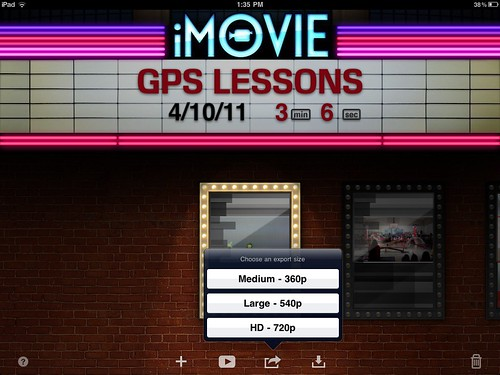 iMovie for iPad Export Size Options