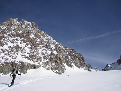 Skinning up chardonnet from Argentiere Glacier
