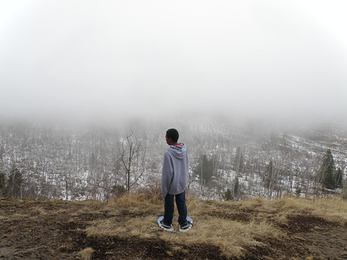 Student Looking at Fog