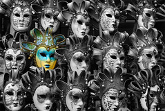 All the World's a Stage (Ben Heine) Tags: venice portrait people blackandwhite italy detail eye art colors face hat mystery photography design scary others eyes colorful theater italia different faces emotion theatre head expression unique fear crowd decoration creative shakespeare player yeux souvenir masks gift difference chapeau photoediting passion mysterious animation carnaval comedian expressive actor gif foule venise venezia italie sentiment tête visage masque peur joueur postprocessing alltheworldsastage mystère selectivecoloring theartistery benheine samsungimaging