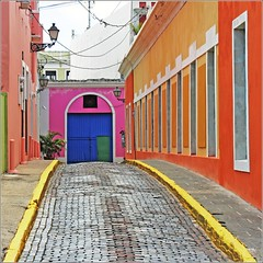 colorful street (Z Eduardo...) Tags: street door pink blue urban orange window architecture island colours caribbean lepetitprince caribbe superaplus aplusphoto sanjuandepuertorico platinumheartaward simplysuperb flickraward imagesforthelittleprince bestcapturesaoi elitegalleryaoi flickraward5 flickrawardgallery