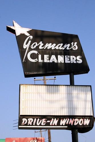 gorman's cleaners neon sign