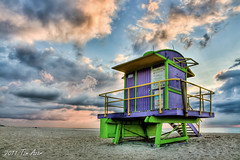 Miami Beach 12th Street Lifeguard Tower  - Another Angle (Tim Azar) Tags: orange storm green beach yellow architecture sand purple florida cloudy miami miamibeach southbeach hdr 12thstreet lifeguardtower ck24 photomatixpro4 timazar
