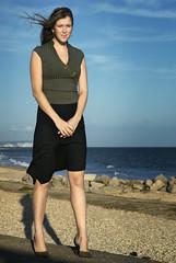 Portrait - Chloe 1 (darrenwool) Tags: portrait sunlight girl natural fulllength windy skirt telephoto dorset hengistburyhead