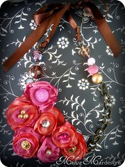 Rose Garden Semi-Bib necklace (MelisaMae) Tags: pink flowers flower vintage necklace handmade buttons pearls glassbeads fabricflowers ribbonnecklace