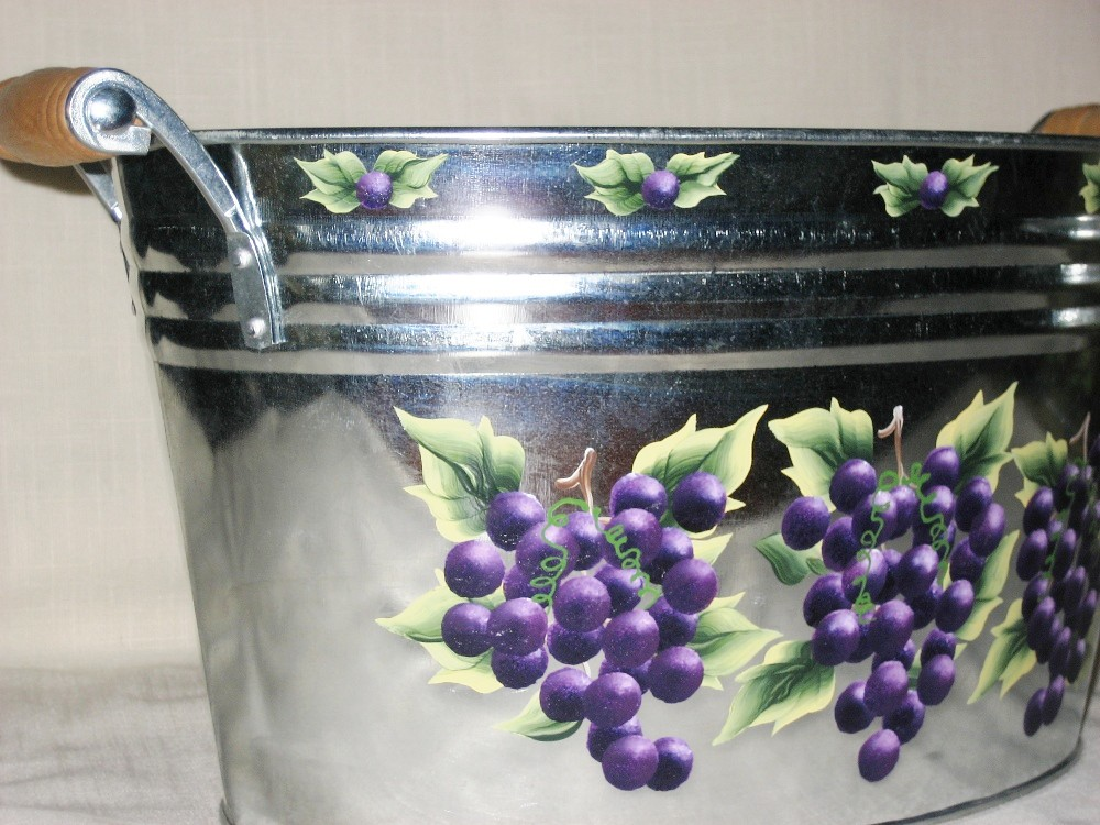 Ice Bucket Grapes Hand Painted Galvanized Tub