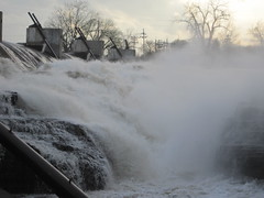 the Might Hudson rages from melting and raining at Glens Falls
