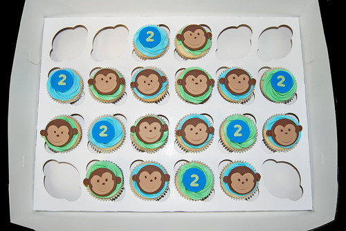 monkey 2nd birthday cupcakes blue and green