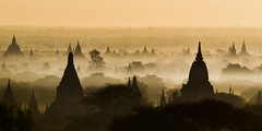 Good morning Bagan - Myanmar (David Michel) Tags: shadow mist fog sunrise temple pagoda burma myanmar brume bagan pagode