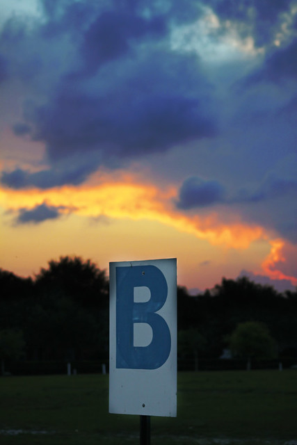 B sign sunset