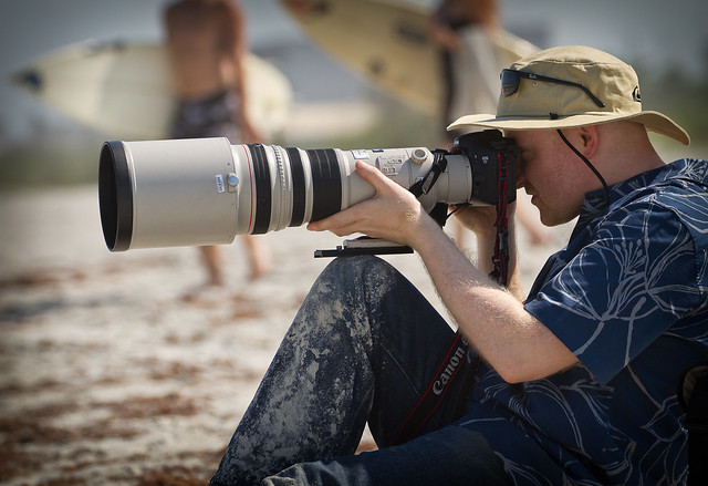 Gordon with a 500mm f4L on Cocoa Beach