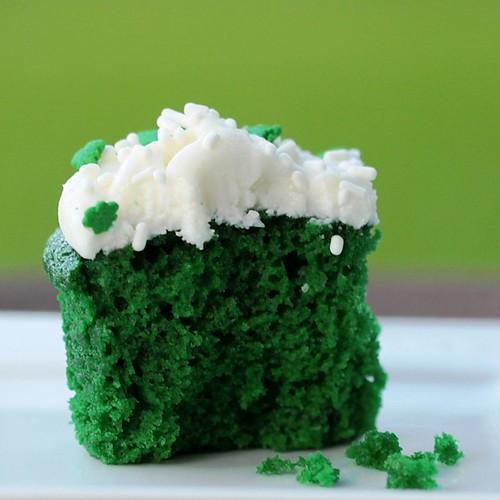 Bright green velvet cupcakes