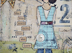 worth more close up (sweetpeaink) Tags: bird girl vintage aqua mixedmedia ephemera workshop quotes inspirational sheart sweetpeaink christytomlinson