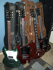 S-Geeez! (erick.coleman@me.com) Tags: blue 2002 red classic stain cherry 1974 special melody junior 1967 p maestro standard sg maker gibson 90 ebony pelham p90 lollar vibrato