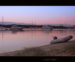 Making Waves (Acoustic Alchemy) (bigvern1263) Tags: longexposure pink water sunrise reflections boat bluesky calm dinghy goldcoast