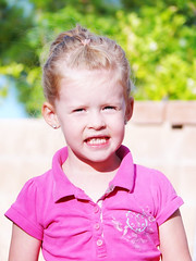 Leilani (OceanBaby-in-SLC) Tags: pink girl smile hair outside kid toddler pretty child little bokeh blonde cheesey totw