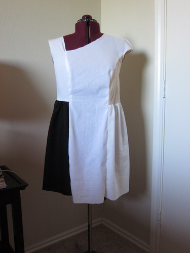 Asymmetrical Neckline Dress Muslin