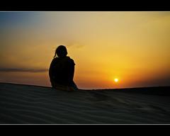You, me and the setting Sun (PNike (Prashanth Naik..back after ages)) Tags: sunset sun india love silhouette evening nikon orangesky setting nomansland sanddunes jaisalmer rajasthan desertsunset onewithnature thardesert pnike