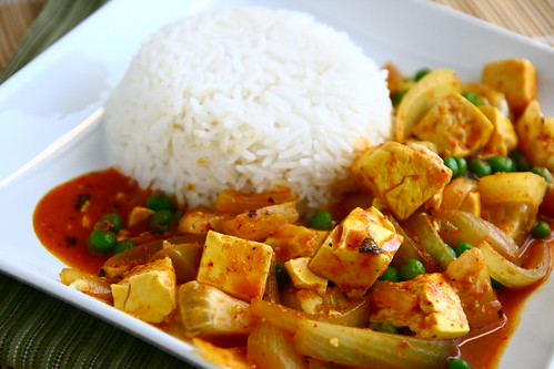 Tofu with Red Curry Paste, Peas, and Yellow Tomatoes