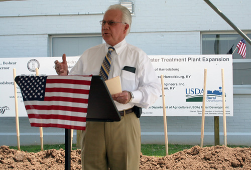 State Director Tom Fern addressing the crowd at the groundbreaking ceremony for a water system expansion project.