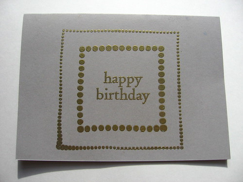 Gold Embossed Stamped Birthday Card