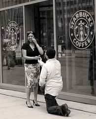 May 22, 2011 (shrosa814 (returning soon)) Tags: bw woman streets smiling blackwhite girlfriend couple michiganave cupcake starbucks chicagoil g10 canong10 minicupcakeoffering manononeknee
