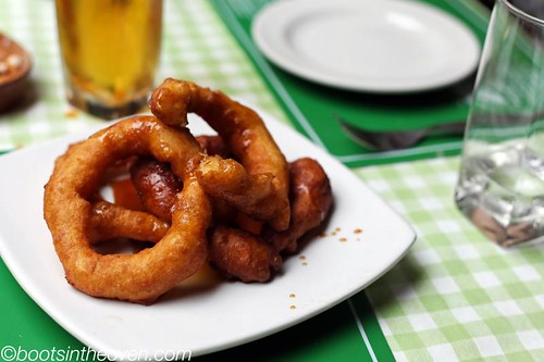 Picarones - sweet potato doughnuts with honey