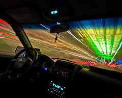 (Thomas Holsinger) Tags: blue light urban green colors night speed radio mantis lens nikon long exposure downtown neon shoot driving nissan cops air awesome trails houston fast super shutter late nikkor ac 1224mm f4 frontier tracers kpft