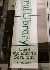 Hackney Sans (Clive Andrews) Tags: london library banner font hackney typeface comicsans cliveandrews crw3298