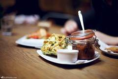 Goats Cheese & Spinich Muffin (Rick Nunn) Tags: wood food london rick coffeeshop muffin tones nunn tabel ef50mmf14usm