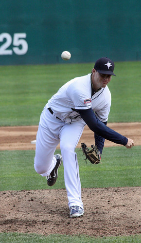 Beavan throws a pitch vs. Reno