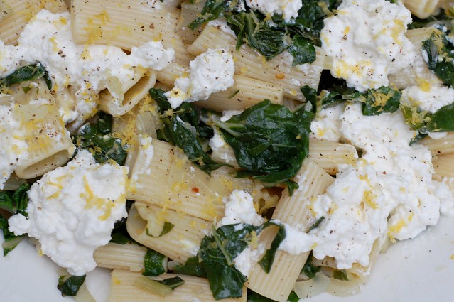 Lemon-scented pasta with swiss chard and ricotta cheese by Eve Fox, Garden of Eating blog, copyright 2011