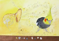 Swing Jazz (YokosGallery) Tags: portrait music pets art birds yellow glitter bronze pen painting paper gold acrylic originalpainting jazz canvas cockatiel horn etsy rhinestone walldecor yokosgallery